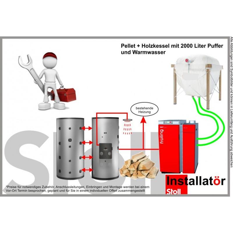 Fröling Kombikessel Stückholz + Pellet mit 2000L Puffer und Warmwasser